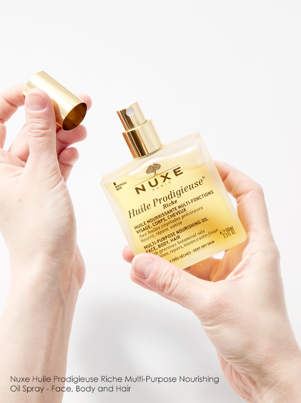 Hand image of Nuxe Huile Prodigieuse Riche Multi-Purpose Nourishing Oil Spray - Face, Body and Hair
