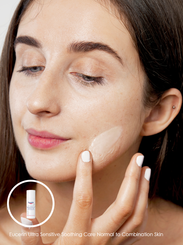 how to cure maskne with Eucerin Ultra Sensitive Soothing Care Normal to Combination Skin