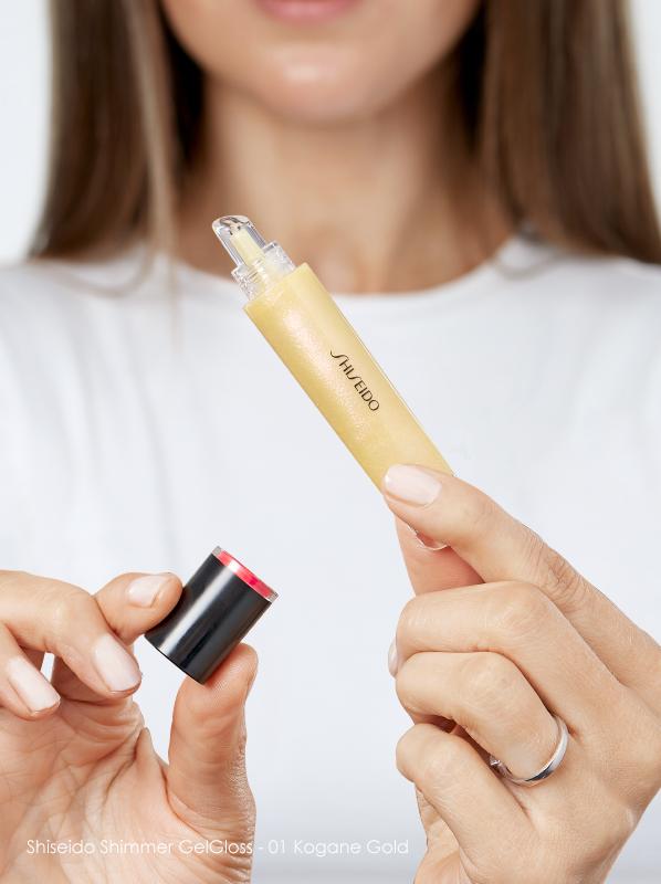 best nude lip gloss Shiseido Shimmer Gel Gloss 01 Kogane Gold