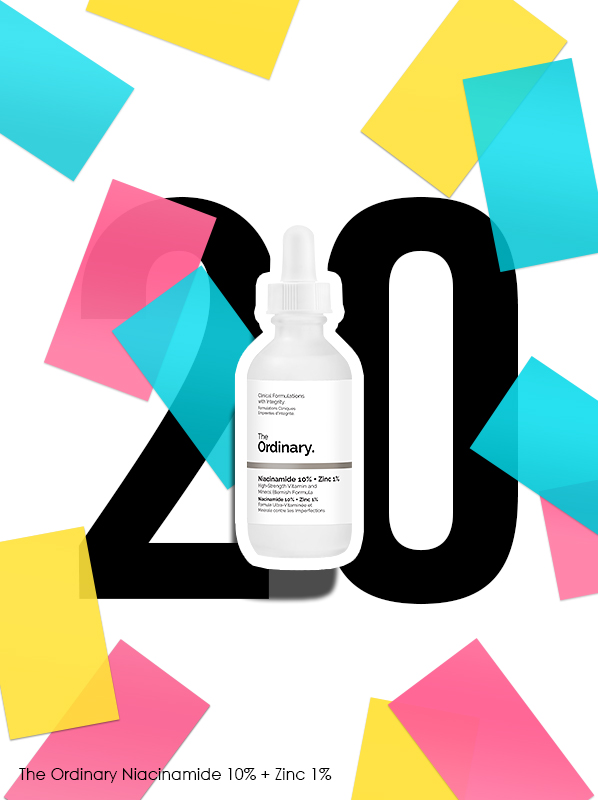The Ordinary Niacinamide 10% + Zinc 1% for Escentual 20th birthday bestsellers