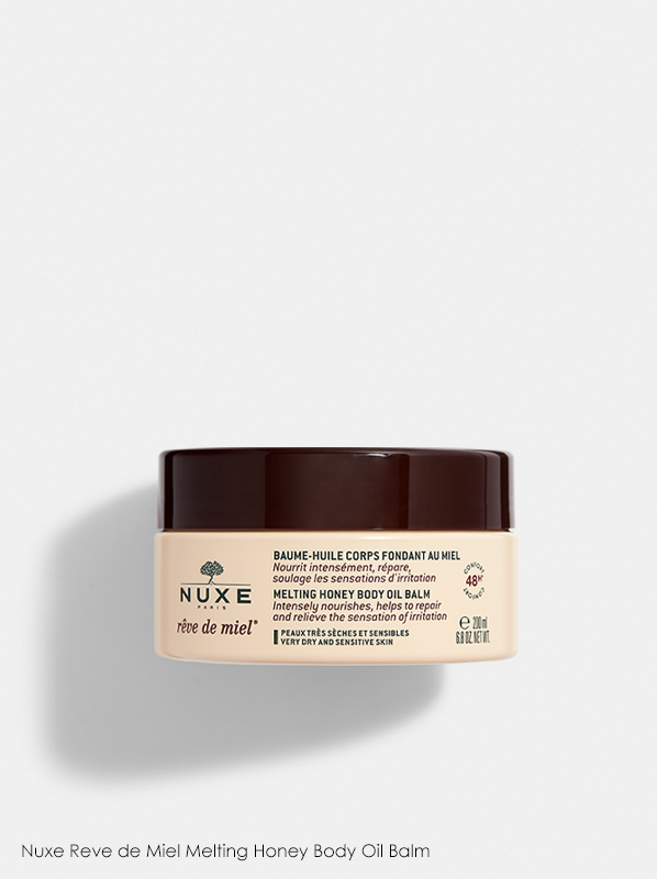 A review of Nuxe products which features Nuxe Reve de Miel Melting Honey Body Oil Balm