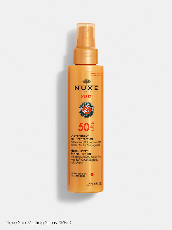 A review of Nuxe products which features Nuxe Sun Melting Spray SPF50