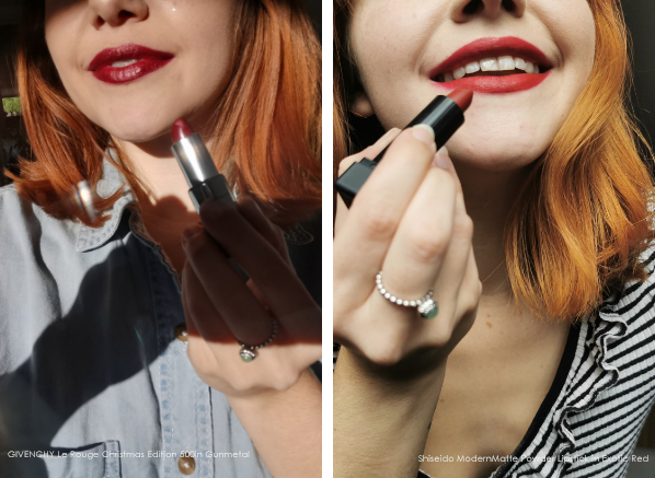 The Classic Christmas Makeup Switch-Up: GIVENCHY Le Rouge Christmas Edition 500 Gunmetal and Shiseido ModernMatte Powder Lipstick in Exotic Red