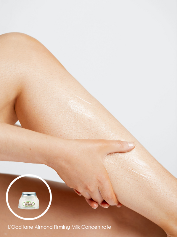 Lymphatic drainage body: L'Occitane Almond Firming Milk Concentrate
