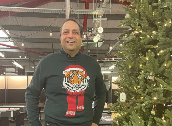 Rakesh Aggarwal, CEO of Escentual Christmas Jumper Picture