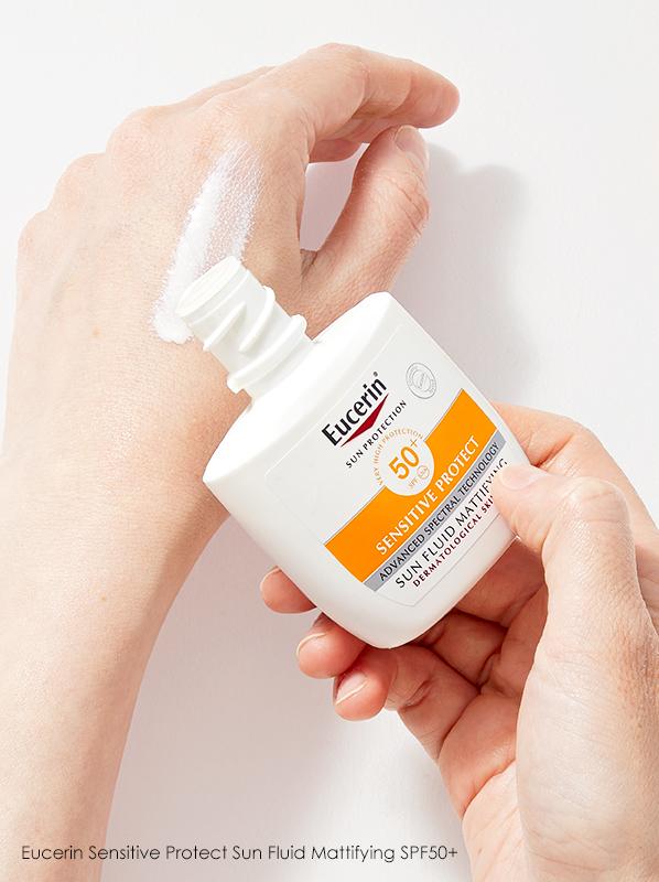 Eucerin Sensitive Protect Sun Fluid Mattifying SPF 50+ in an edit on common SPF problems