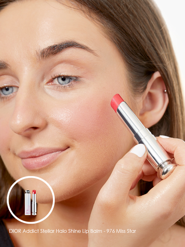 Multipurpose makeup use for the DIOR Stellar Addict Halo Shine in shade 976 Miss Star for blusher