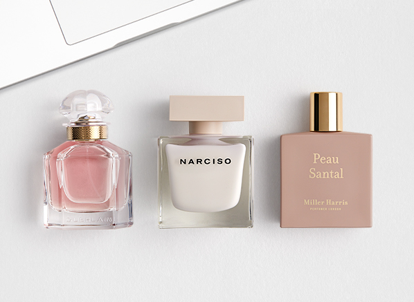 5 Everyday Fragrances Everyone Will Love; Guerlain Mon Guerlain, Narciso Rodriguez Narciso, Miller Harris Peau Santal