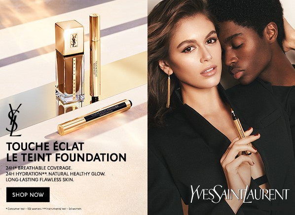 Campaign imagery for Yves Saint Laurent Touche Eclat Le Teint Foundation SPF22