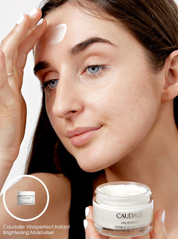 Swatch image of Caudalie Vinoperfect Dark Spot Correcting Moisturiser on the skin in a niacinamide skincare edit