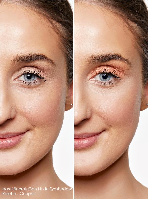 Swatch of a model wearing bareMinerals Gen Nude Eyeshadow Palette to ehance her blue eyes