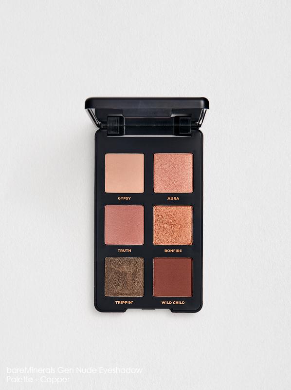 Close up of bareMinerals Gen Nude Eyeshadow Palette copper best for blue eyes