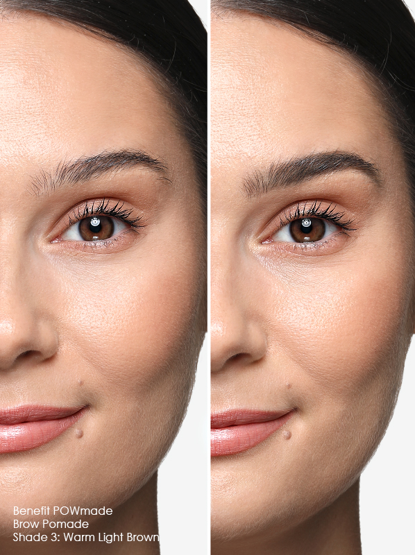 Before and after image of the Powmade Eyebrow Pomade swatch warm light brown