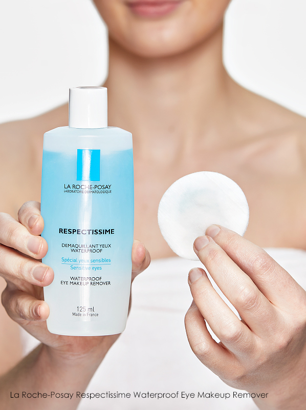 Swatch on cotton pad of La Roche-Posay Respectissime Waterproof Eye Makeup Remover to show texture