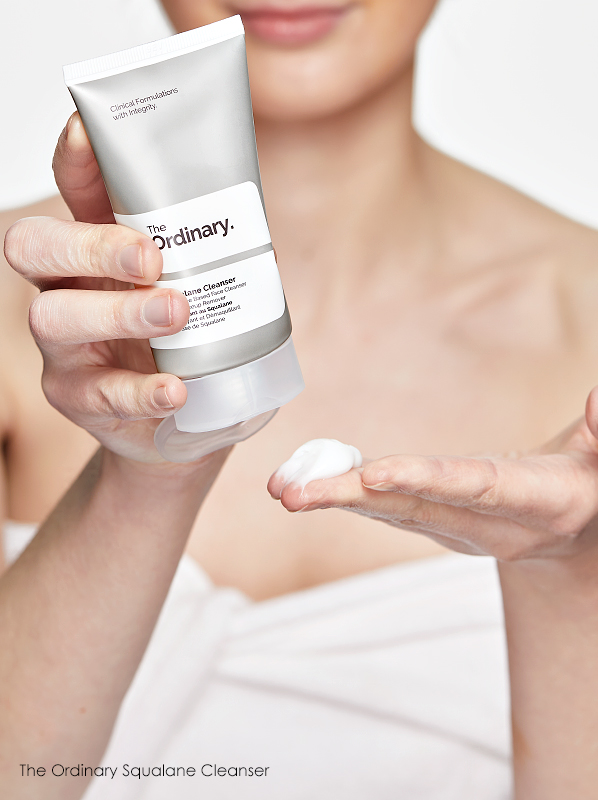 Swatch of the texture of The Ordinary Squalane Cleanser which is great for removing stubborn makeup