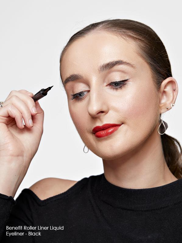 Best eyeliner edit featuring Benefit Roller Liner Liquid Eyeliner - Black swatch