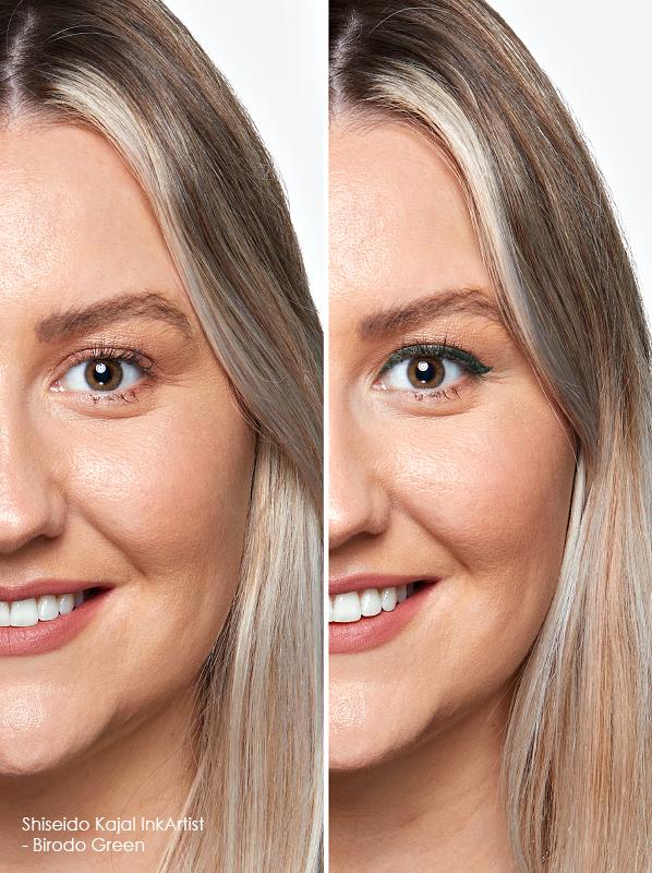 Swatch image o the Shiseido Kajal InkArtist in shade 06 - Birodo Green for colour eyeliner edit
