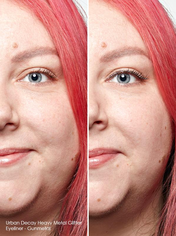 Swatch of Urban Decay Heavy Metal Glitter Eyeliner in Gunmetal for colour eyeliner guide